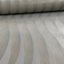 Grandeco Casa Doria Wave Stripe Pattern Metallic Textured Vinyl Wallpaper CD2202