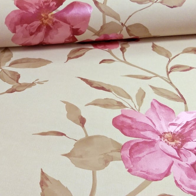 Grandeco Chloe Flower Pattern Floral Rose Motif Metallic Wallpaper A13701