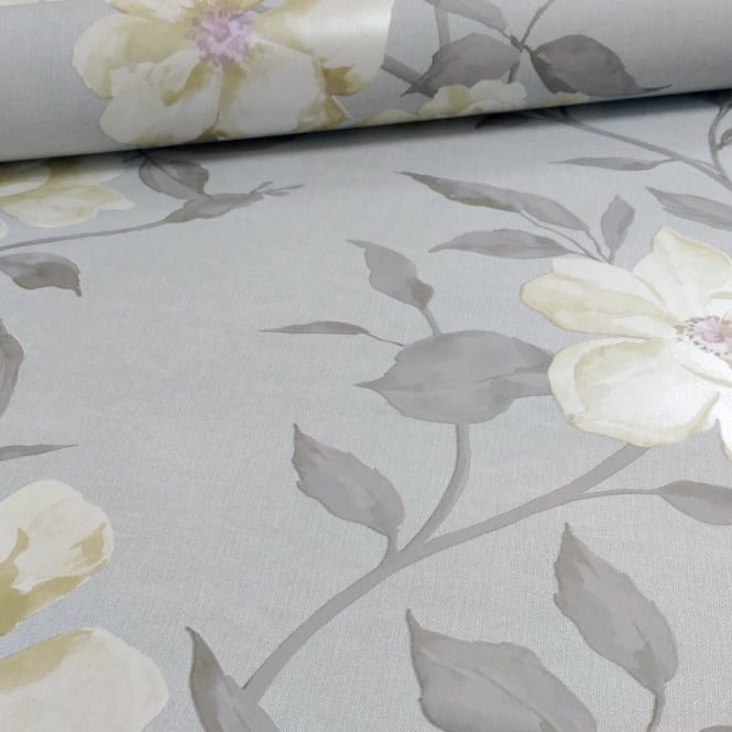 Grandeco Chloe Flower Pattern Floral Rose Motif Metallic Wallpaper A13702