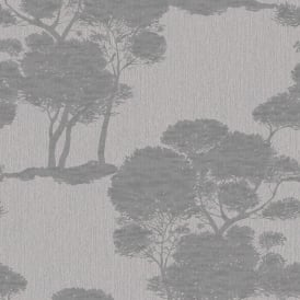 Grandeco Darcy Forest Wood Tree Pattern Wallpaper Metallic Glitter Motif A15704