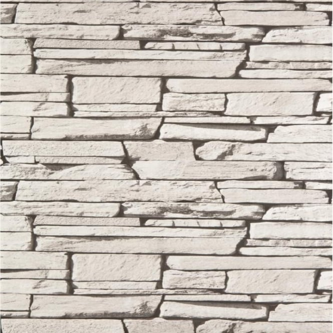 Grandeco Dax Dry Stone Wall Slate Brick Effect Vinyl Wallpaper Roll 827087