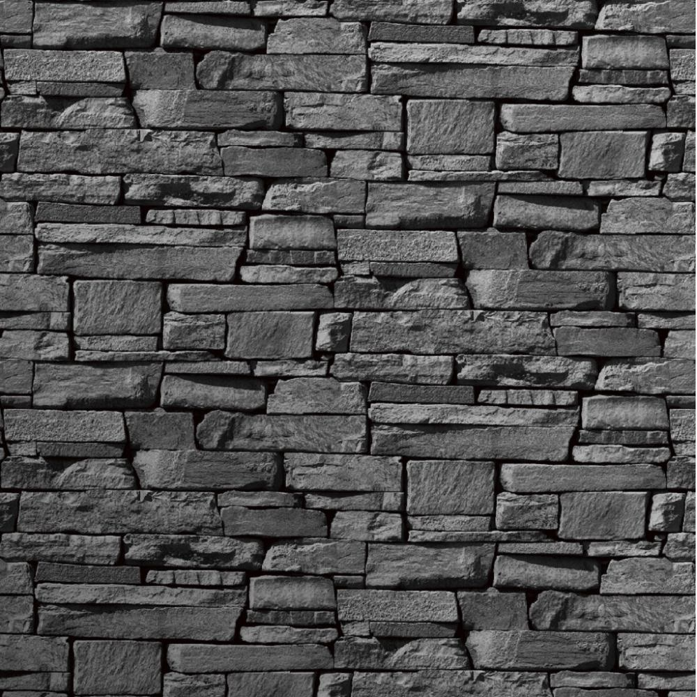 Grandeco dax dry stone wall slate brick effect vinyl for Bricks stone design