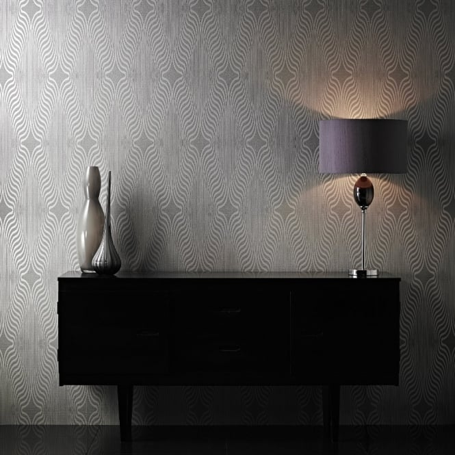 Grandeco Deco Zebra Stripe Designer Glitter Textured Blown Vinyl Wallpaper BOB-19-01-9