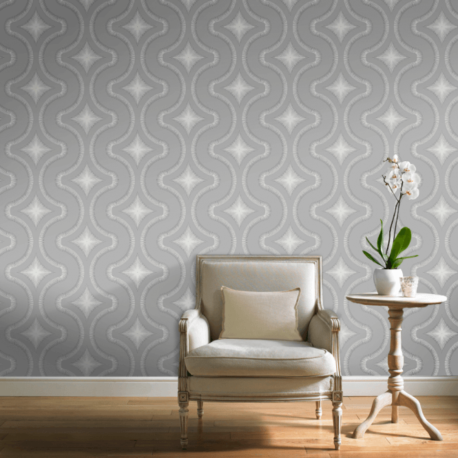 Grandeco Diamond Embossed Wavy Line Glitter Vinyl Geometric Retro Style Wallpaper