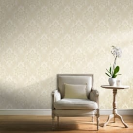Grandeco Fabric Royal Damask Pattern Glitter Motif Textured Wallpaper A10905