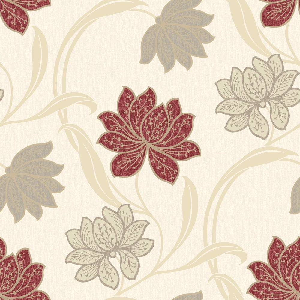 Grandeco Gabe Floral Pattern Wallpaper Flower Leaf Metallic Embossed
