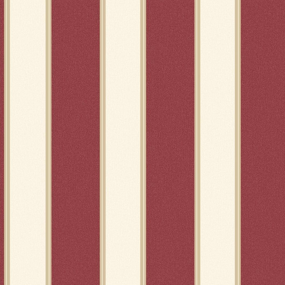 Grandeco Gabe Stripe Pattern Wallpaper Metallic Striped Motif Embossed Red