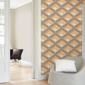 Grandeco Geometric Chevron Stripe Pattern Wallpaper Metallic Silver Glitter Motif A16003