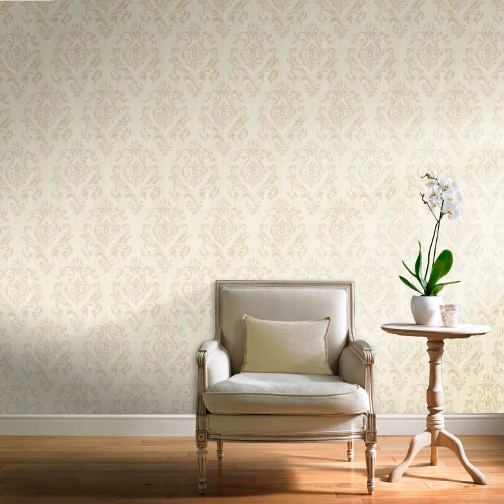 Grandeco gold wooden beam distressed pattern damask motif for Gold wallpaper for home