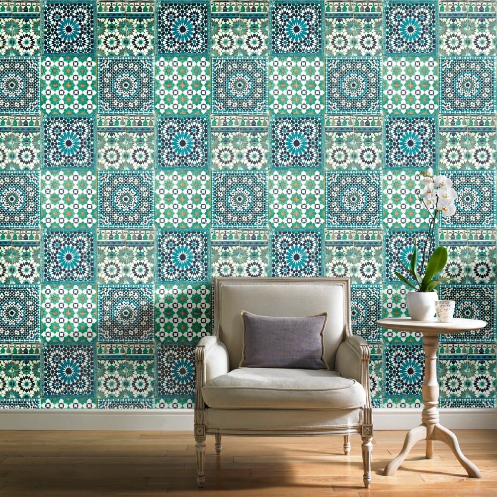 grandeco botanical moroccan tile pattern wallpaper retro