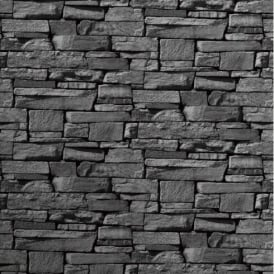 Grandeco Dax Dry Stone Wall Slate Brick Effect Vinyl Wallpaper Roll 827088