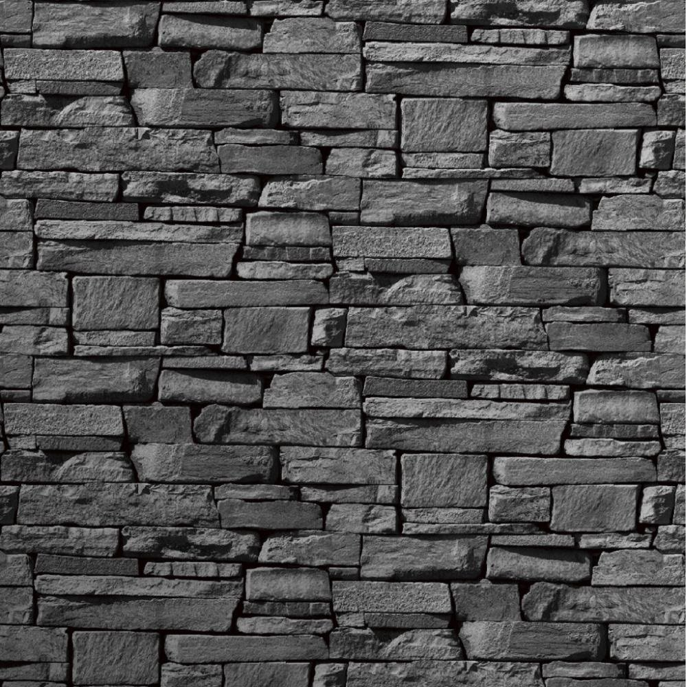 Grandeco dax dry stone wall slate brick effect vinyl for Black 3d brick wallpaper