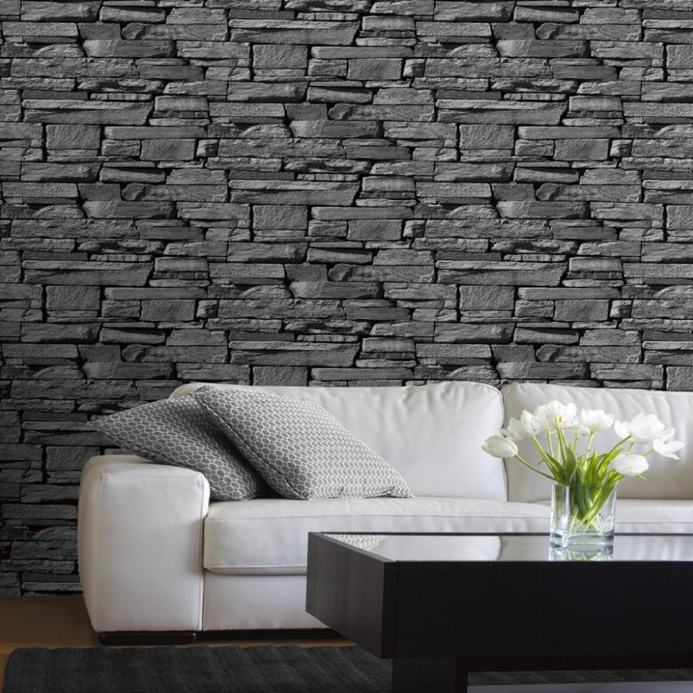 Grandeco dax dry stone wall slate brick effect vinyl for Wallpaper for walls