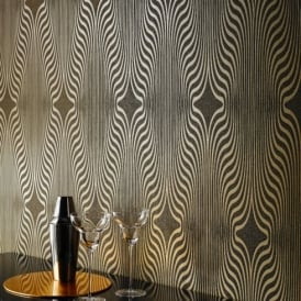 Grandeco Deco Zebra Stripe Designer Glitter Textured Blown Vinyl Wallpaper BOB-19-05-5