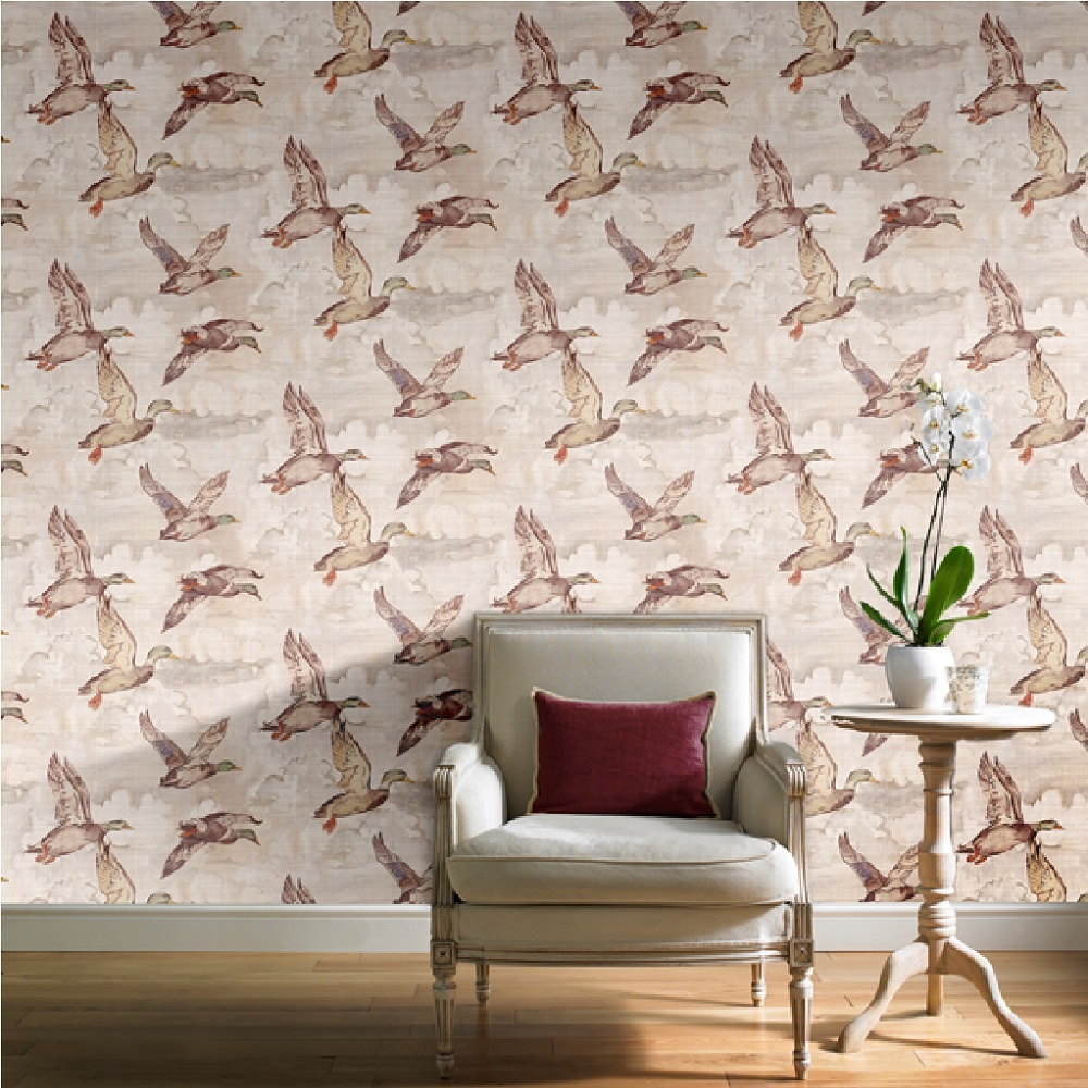 Grandeco royal house flying ducks mural beige wallpaper for Home wallpaper 0