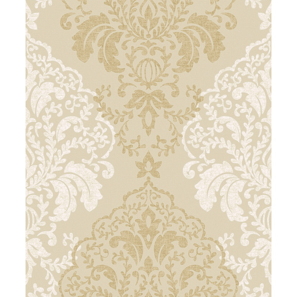 Grandeco Gold Damask Pattern Glitter Textured Wallpaper