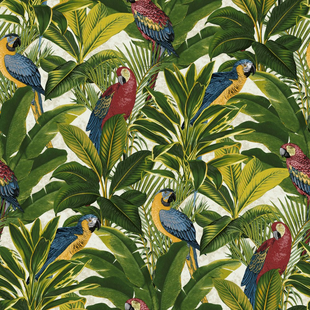 Grandeco ideco exotic bird pattern parrot motif leaf wallpaper a11502 - Papier peint little green ...