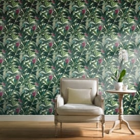 Grandeco Ideco Exotic Bird Pattern Parrot Motif Tropical Leaves Wallpaper A11504