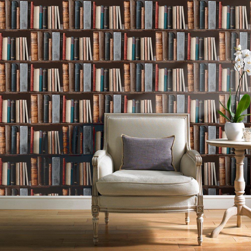 Grandeco library realistic book shelf mural wallpaper pob for Bookcase wall mural