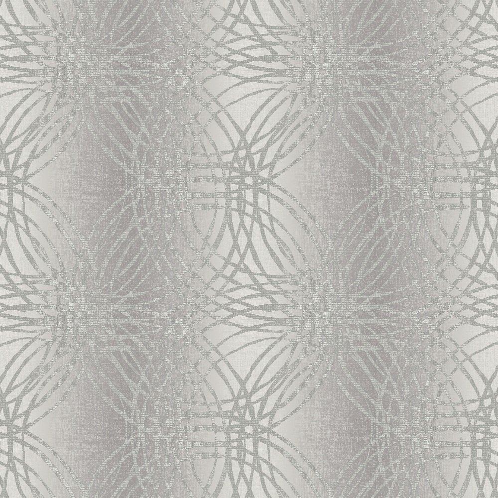 Grandeco leon geometric circles glitter vinyl wallpaper for Silver wallpaper for walls