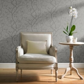 Grandeco Marino Floral Leaf Pattern Silhouette Tree Metallic Wallpaper A10111