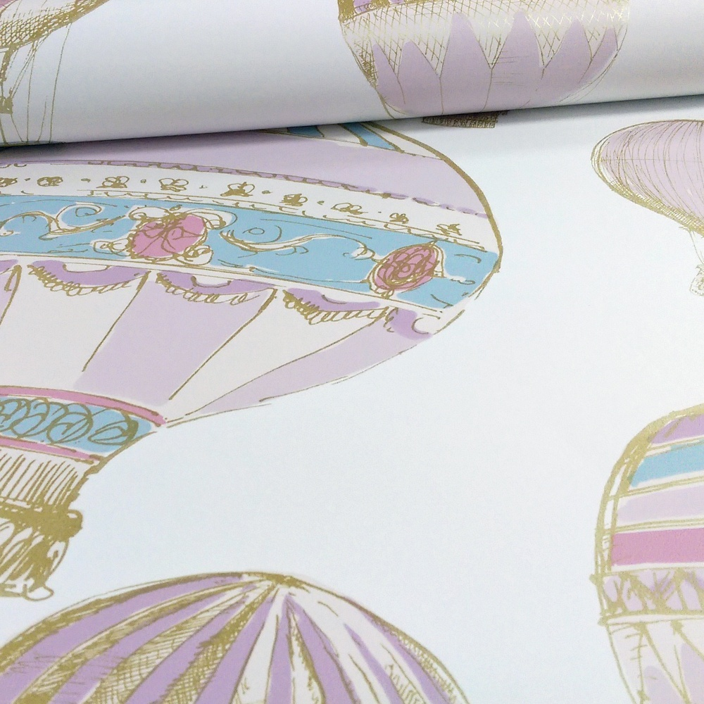 Grandeco Hot Air Balloons Pattern Stripe Motif Metallic Wallpaper A11101