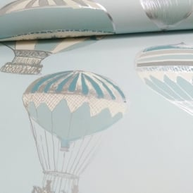 Grandeco Hot Air Balloons Pattern Stripe Motif Metallic Wallpaper A11104