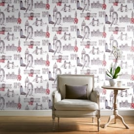 Grandeco Ideco Designer London Sketch Water Colour Paint Wallpaper POB-26-01-6