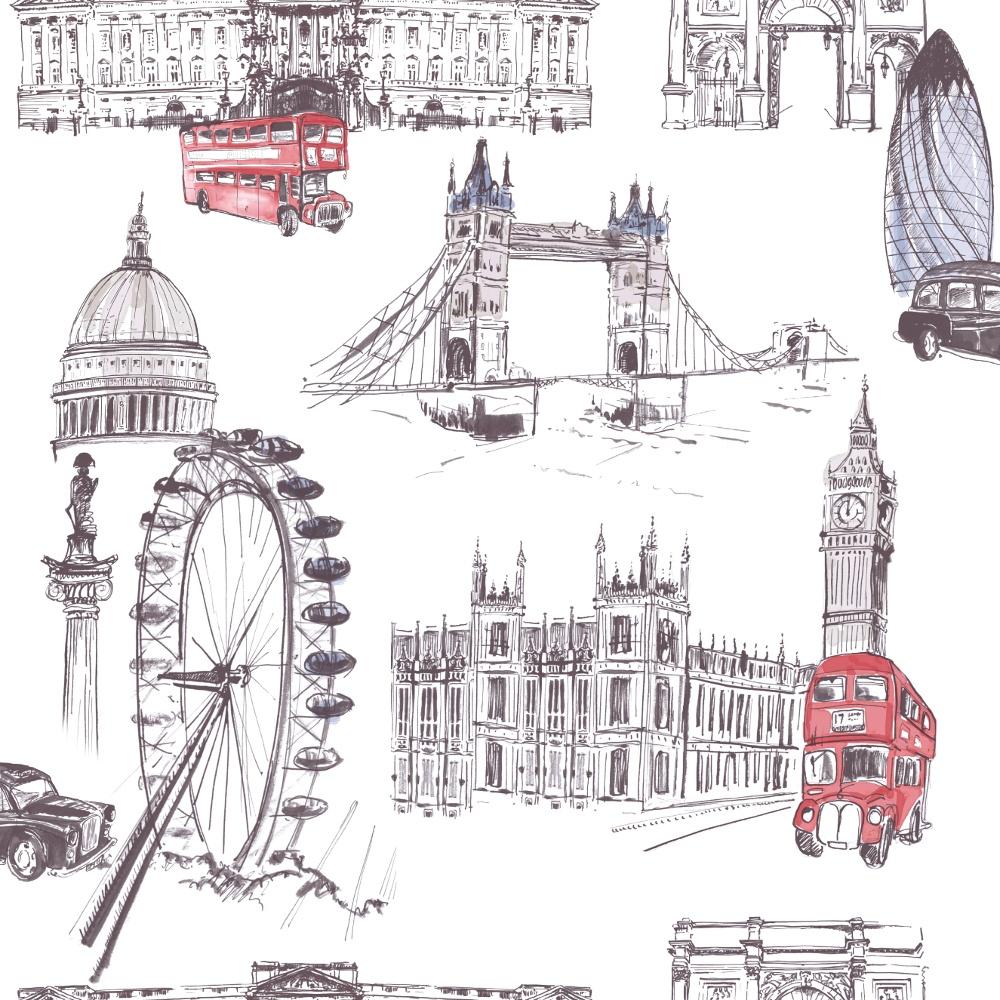 Ideco Designer London Sketch Water Colour Paint Wallpaper Pob 26 01 6