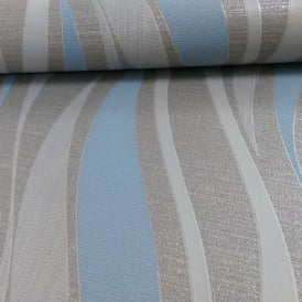 Grandeco Ideco Drift Wave Pattern Glitter Stripe Embossed Vinyl Wallpaper A13602