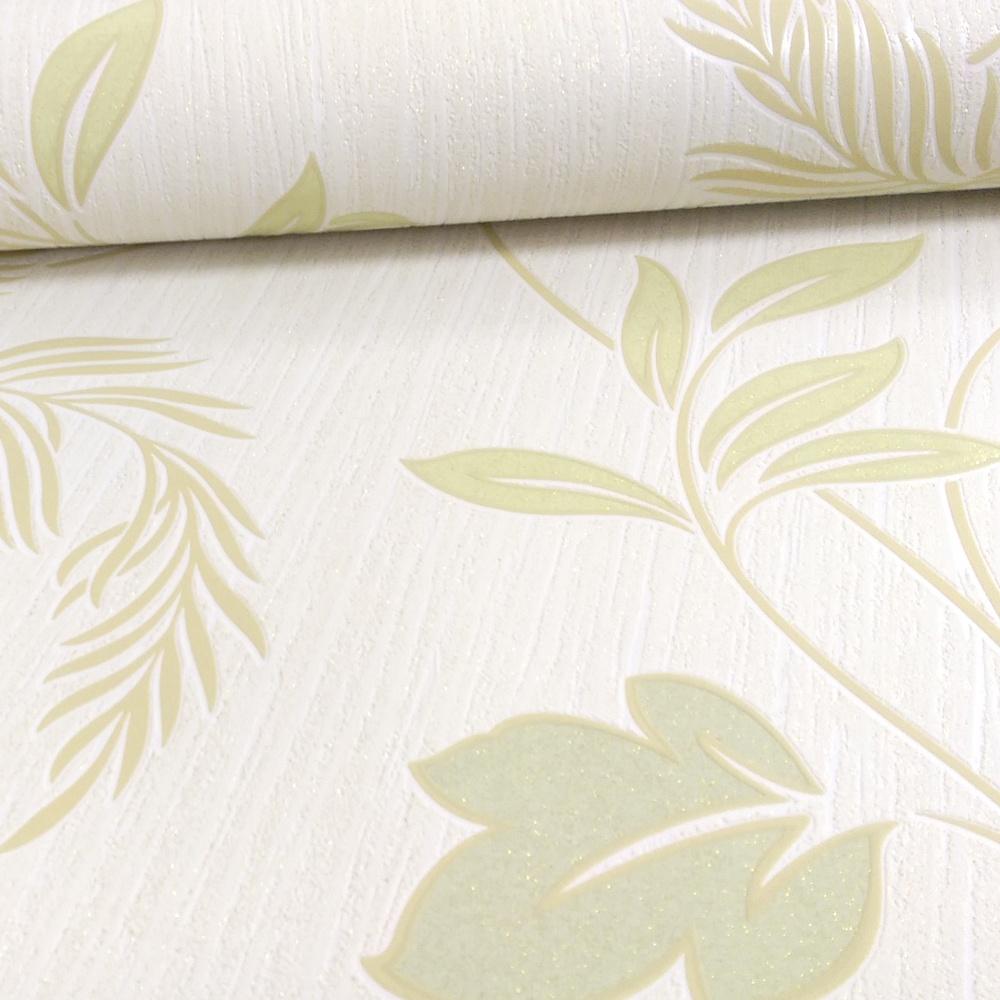 Grandeco Ideco Eva Floral Leaf Pattern Glitter Motif