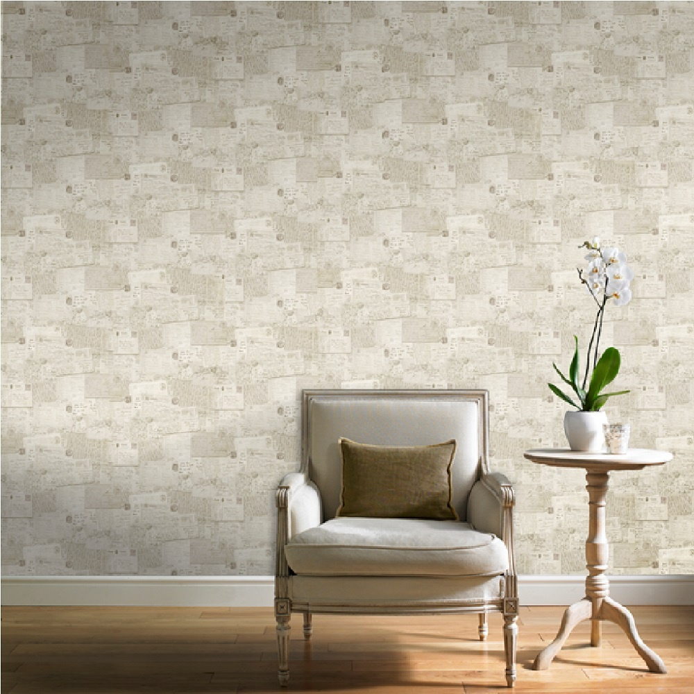 Ideco Home Postcards Vintage Retro Beige Wallpaper POB-010