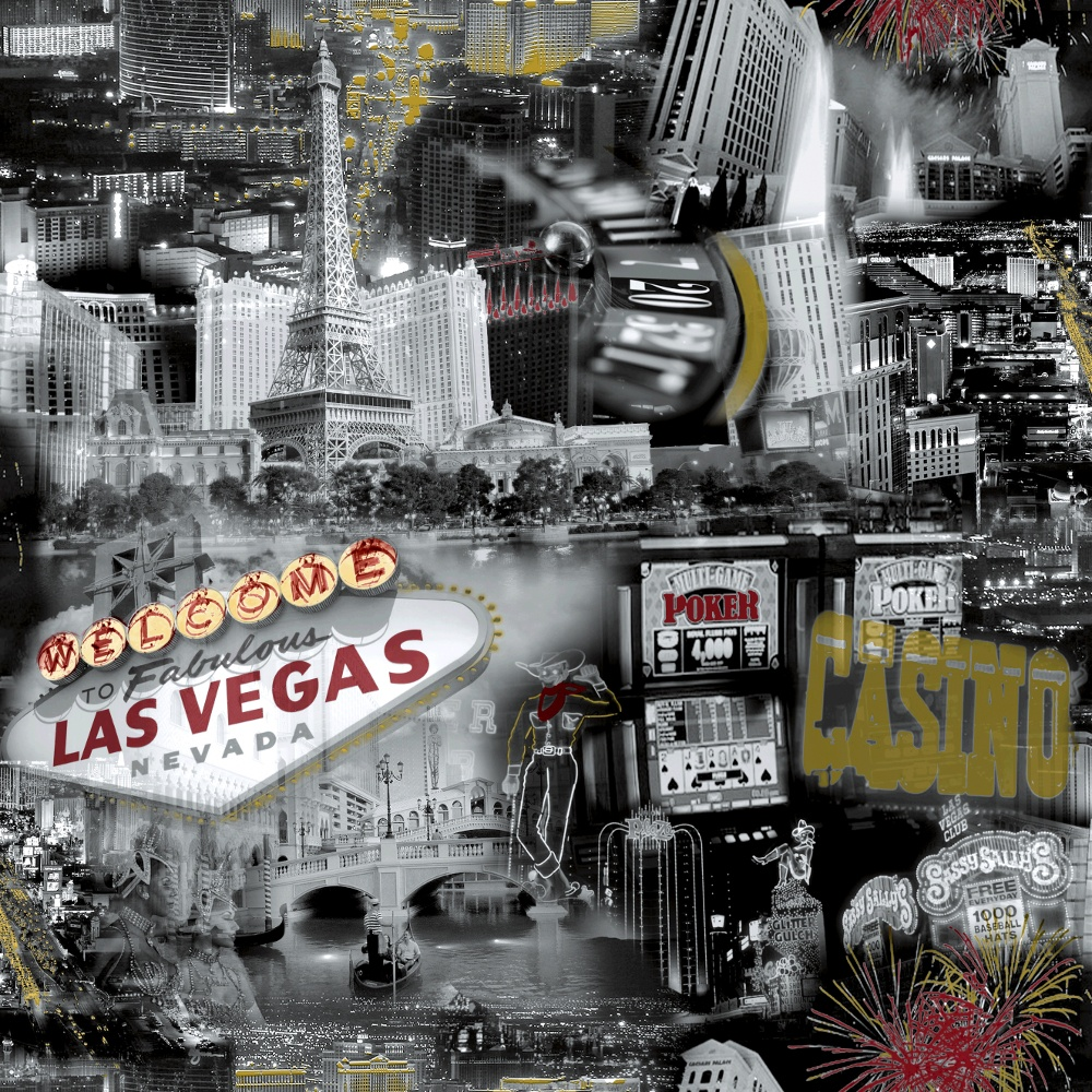 Grandeco Ideco Las Vegas Black White Casino Wallpaper POB 35 01 4