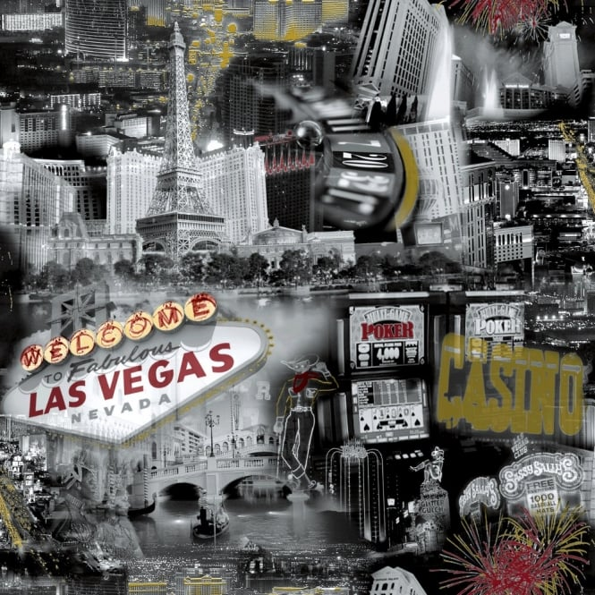 Grandeco Ideco Las Vegas Black White Photographic Casino Wallpaper POB-35-01-4