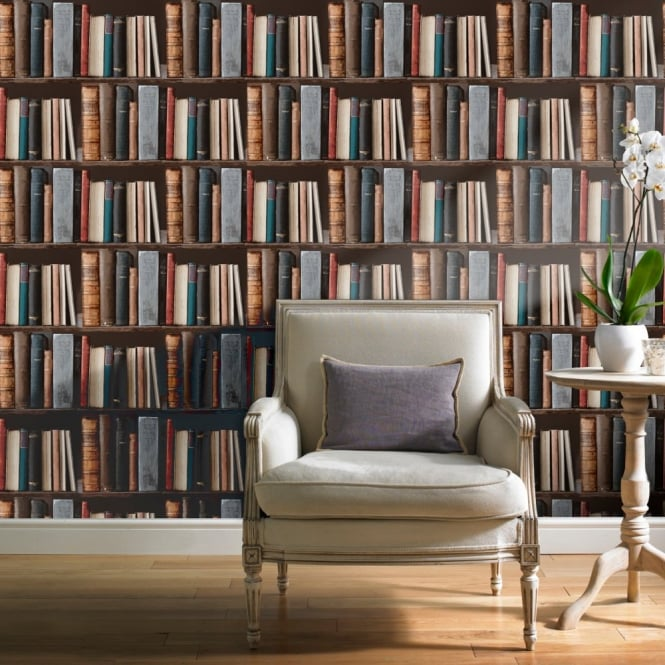Grandeco Ideco Library Books Realistic Book Shelf Mural Wallpaper POB-33-01-6