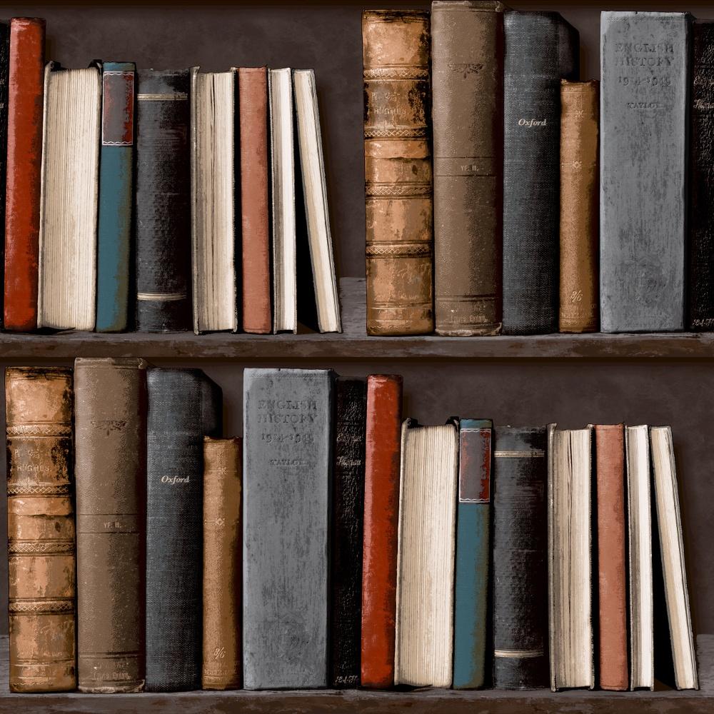 Grandeco Library Realistic Book Shelf Mural Wallpaper POB33016