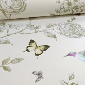 Grandeco Ideco Rose Garden Bird Butterfly Pattern Floral Motif Wallpaper A14601