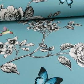 Grandeco Ideco Rose Garden Bird Butterfly Pattern Floral Motif Wallpaper A14602