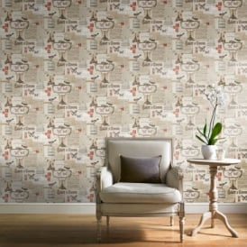 Grandeco Ideco Salute Bird Butterfly Paris Calligraphy Wallpaper POB-31-01-8