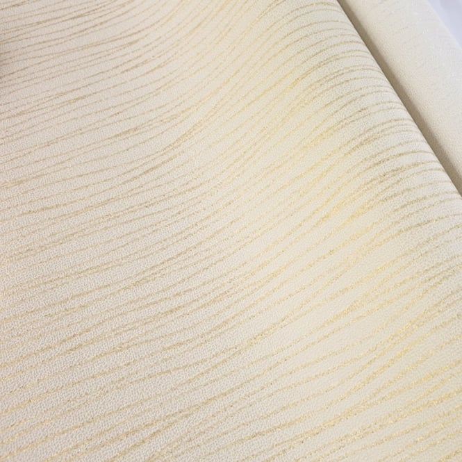 Grandeco Ideco Vilamoura Gold Glitter Stripe Textured Embossed Wallpaper BOA-012-02-8