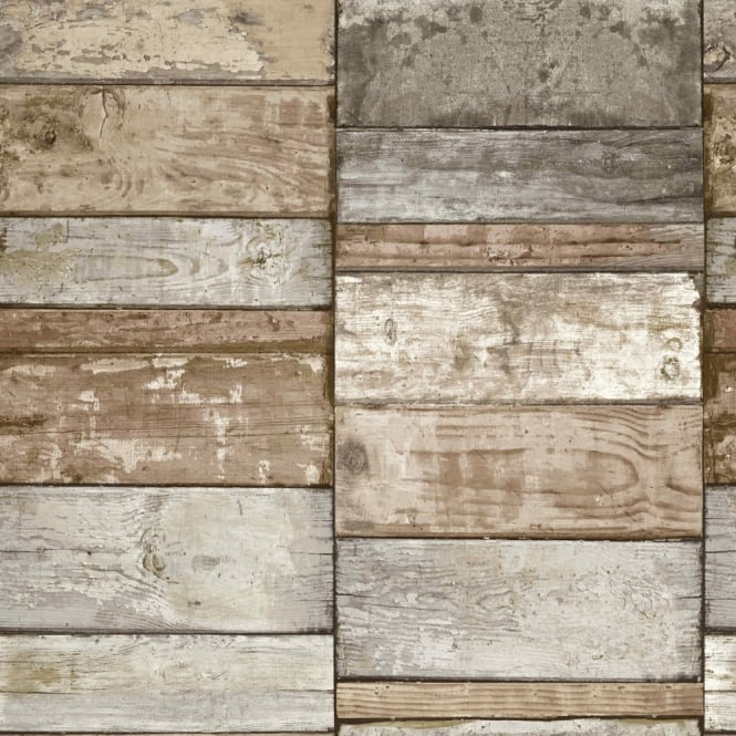 Grandeco Ideco Wood Block Faux Effect Realistic Pattern Mural Wallpaper A10503