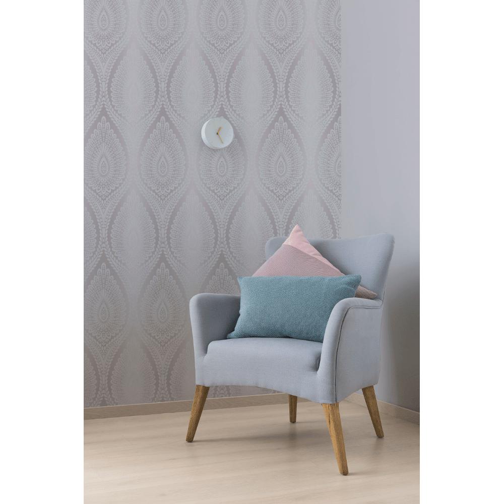 Karla Glitter Floral Modern Moroccan Style Damask Pattern Textured Wallpaper A37104