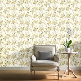 Grandeco Kew Flower Pattern Wallpaper Floral Leaf Bird Butterfly Motif A23902