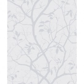 Grandeco Marino Floral Leaf Pattern Silhouette Tree Metallic Wallpaper A10101