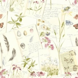 Grandeco Nature Diary Floral Butterfly Pattern Calligraphy Motif Wallpaper POB-28-03-2