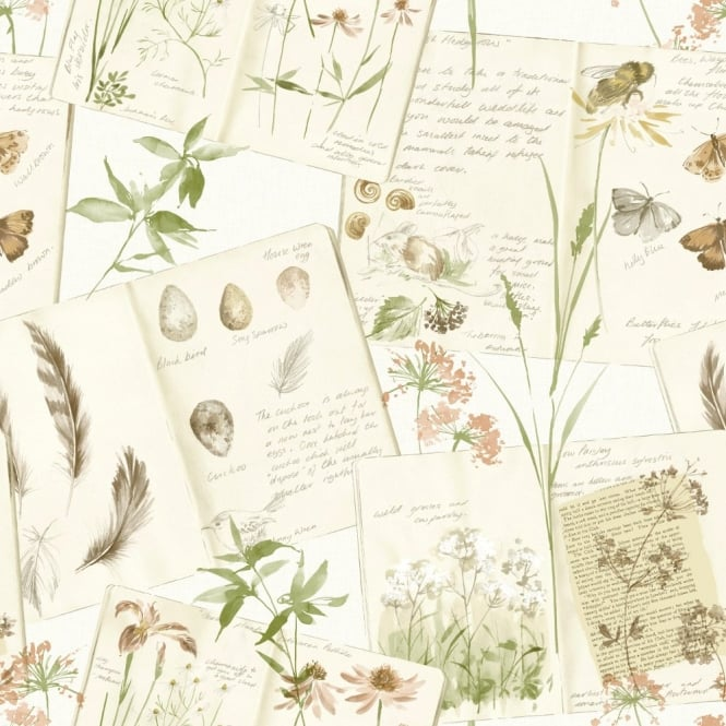 Grandeco Nature Diary Floral Butterfly Pattern Calligraphy Motif Wallpaper POB-28-04-1
