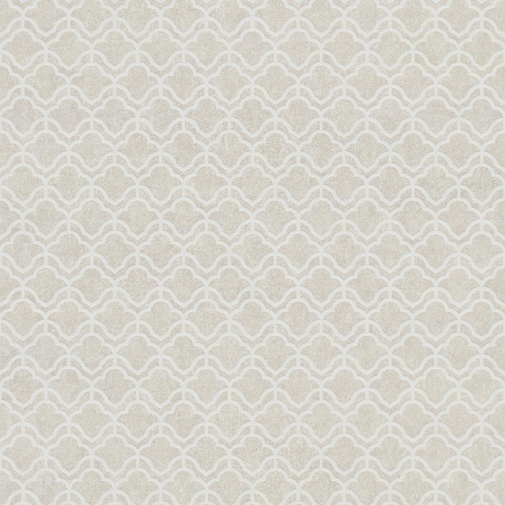 Grandeco Grandeco Orion Geometric 20 s Inspired Damask Motif Metallic Cream  Wallpaper