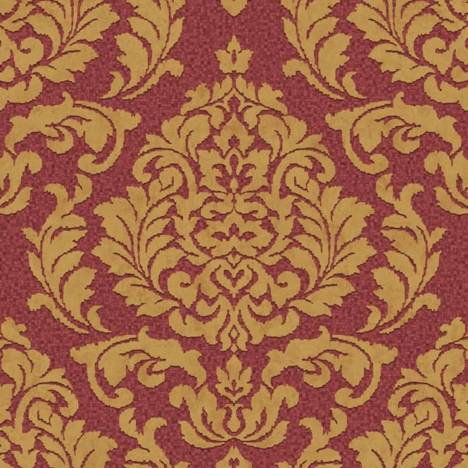 Grandeco Palazzo Damask Leaf Square Textured Designer Non Woven Wallpaper PL-41105