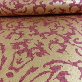 Grandeco Palazzo Red Gold Regal Leaf Pattern Designer Wallpaper PL-41205
