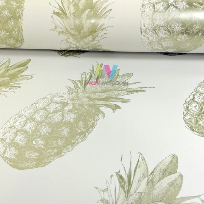 Grandeco Pineapple Pattern Wallpaper Tropical Fruit Metallic Motif 135202